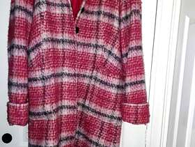 Freecycle Pink and red check coat size 14