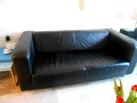 Freecycle Ikea Black leather settee