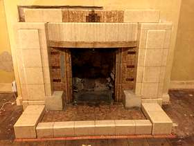 Freecycle Vintage 50s tiled fireplace