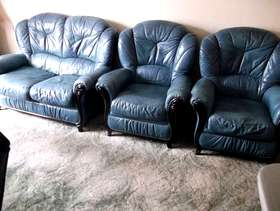 Freecycle Three Peice Suite in Blue leather
