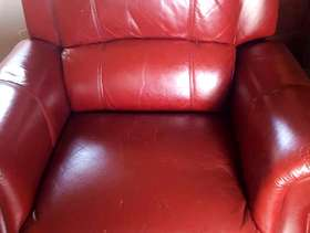 Freecycle Red leather manual recliner