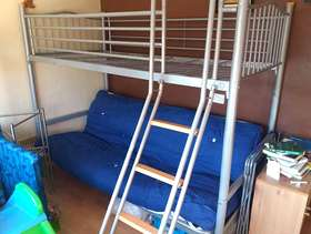 Freecycle Raised single bed with double futon