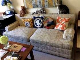Freecycle Sofa plus 4-Drawer Dresser plus Bookshelf