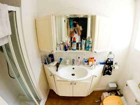 Freecycle 2 part bathroom cabinet with sink, mirror and lights