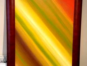 Freecycle Abstract Framed Art Canvas Yellow, Orange and Green