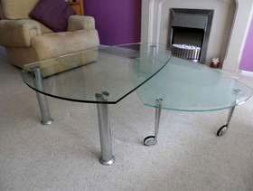 Freecycle Glass and Chrome Coffee table