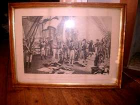 Freecycle Framed engraving/print 'Nelsons Last Signal at Trafalgar'