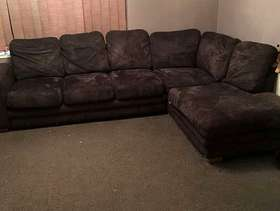 Freecycle Brown suede style corner sofa