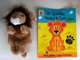 Freecycle Brand New Lion Hand Puppet and Book