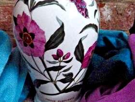 Freecycle Portmeirion Vase 16cm tall, 13cm wide, CISTUS PURPUREUS, round bulbous ...