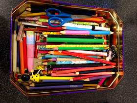Freecycle Tin of pencils and colouring pencils & craft scissors - ...