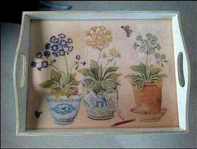 Freecycle Decoupage tray with stand