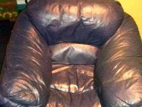Freecycle Genuine blue leather armchair!