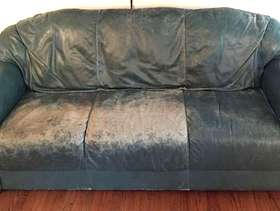 Freecycle Well worn Natuzzi dark green 6 foot leather couch