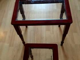 Freecycle Wooden , glass top tables