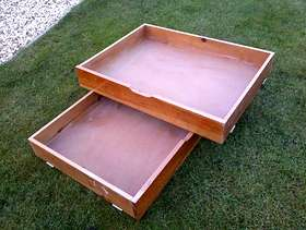 Freecycle Two underbed storage boxes on castors