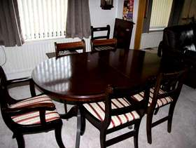 Freecycle Mahogany coloured Dining table and 8 chairs