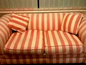 Freecycle Sofa Bed chesterfield style Pink and cream stripes