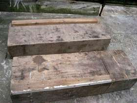 Freecycle Two miniature railway sleepers - wood - oak