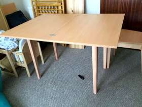 Freecycle Pine foldable dining table and two chairs