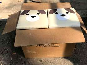 Freecycle Cute, Doggy-faced Dog Food bins (qty 2 with cabinet insert)