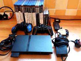 Freecycle Sony PS2 Mini Slim Console with accessories and games