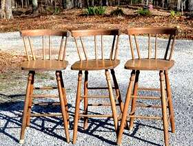 Freecycle Pair of wooden bar stool/chair with back