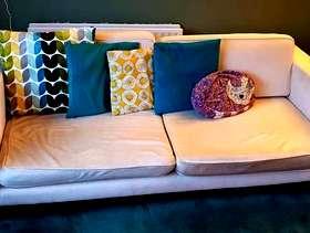 Freecycle 3 seater cream sofa
