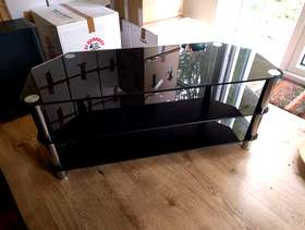 Freecycle Black and Chrome TV Stand