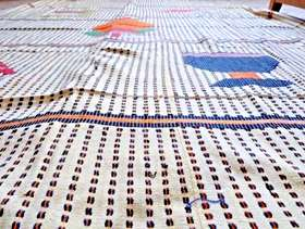 Freecycle Huge tablecloth & 12 napkins, handwoven Royal Palaces of Abomey, ...