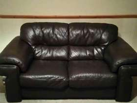 Freecycle Brown leather two seater sofa