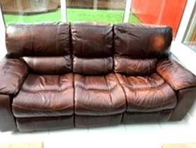 Freecycle Brown leather 3 seater reclining sofa