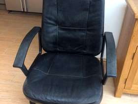 Freecycle Black leather Office chair