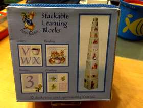 Freecycle Peter Rabit stackable learning blocks.