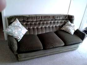 Freecycle Sofa and chair in Green velvety material