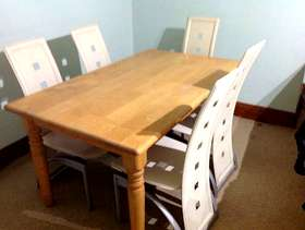 Freecycle Wooden dining table , seats 4 to 6. Plus 6 ...