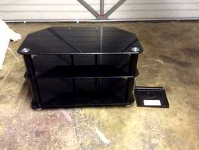 Freecycle Black glass TV stand