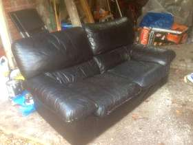 Freecycle Black leather sofa 3-seater
