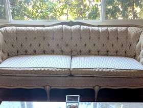 Freecycle Victorian-style sofa and solid wood dining set with six chairs