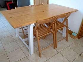 Freecycle 6-8 seater Portobello Trestle Dining Table White & Bleached Pine, ...