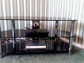 Freecycle Black glass tv stand.